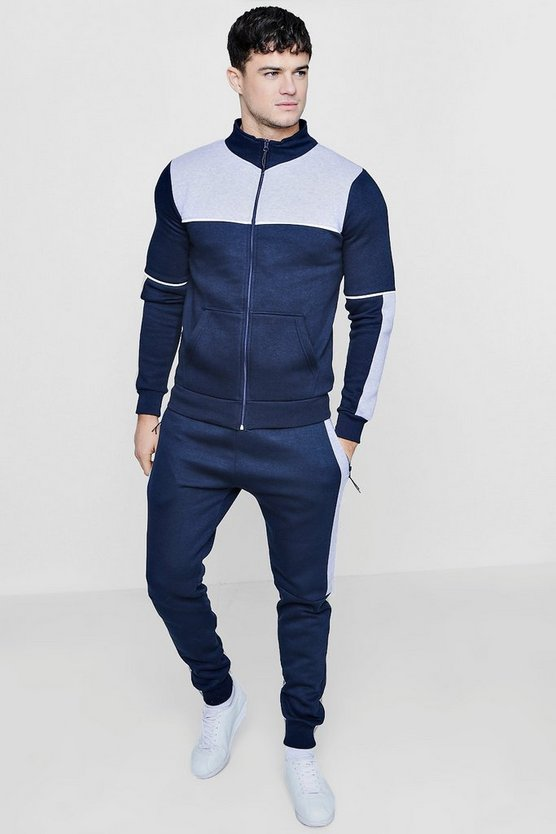 Colour Block Zip Through Tracksuit