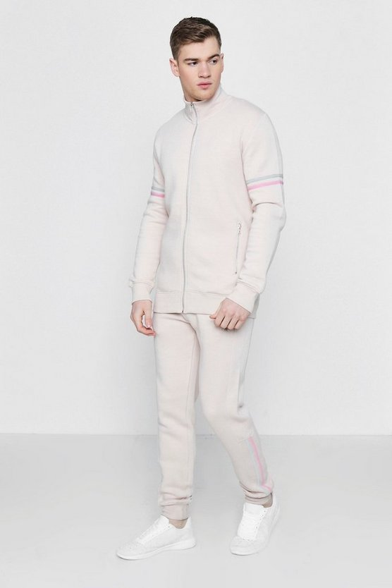 Zip Through Pastel Stripe Detail Tracksuit