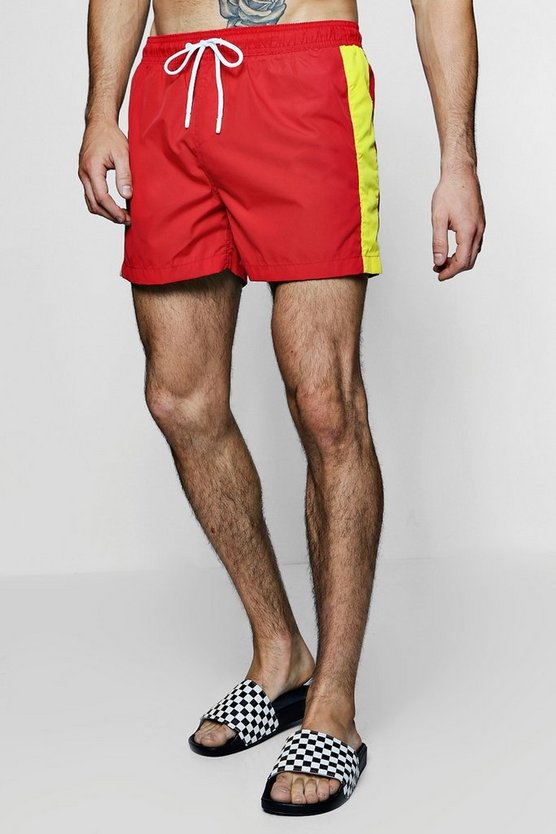 Contrast Side Stripe Swim Shorts
