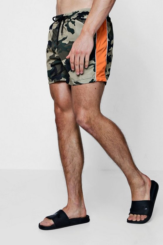 Camo Print Swim Shorts With Orange Stripe