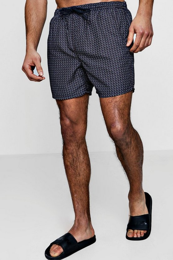 Blue Polka Dot Print Swim Shorts