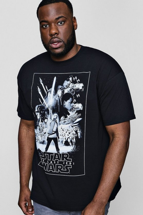 Big And Tall Star Wars Mono Poster License T-Shirt