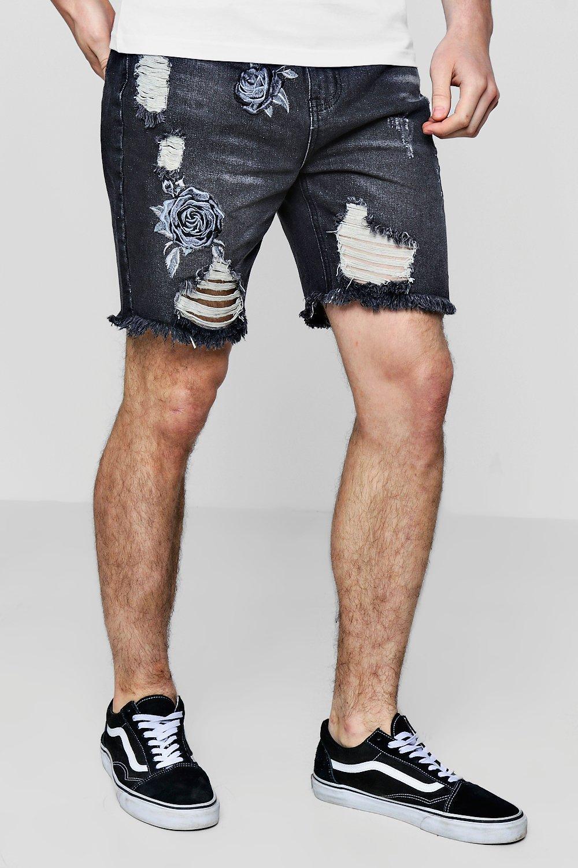 Купить Shorts, Джинсовые шорты-бермуды с вышивкой в виде розы, boohoo