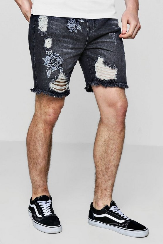 Bermuda Denim Shorts with Rose Embroidery