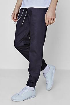 Pantaloni da jogging intessuti a vestibilità slim con laccetti a contrasto