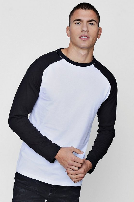 Long Sleeve Raglan Contrast T-Shirt