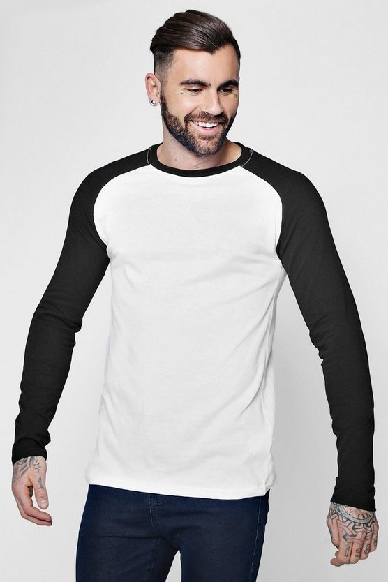 Long Sleeve Muscle Fit Contrast Raglan T-Shirt