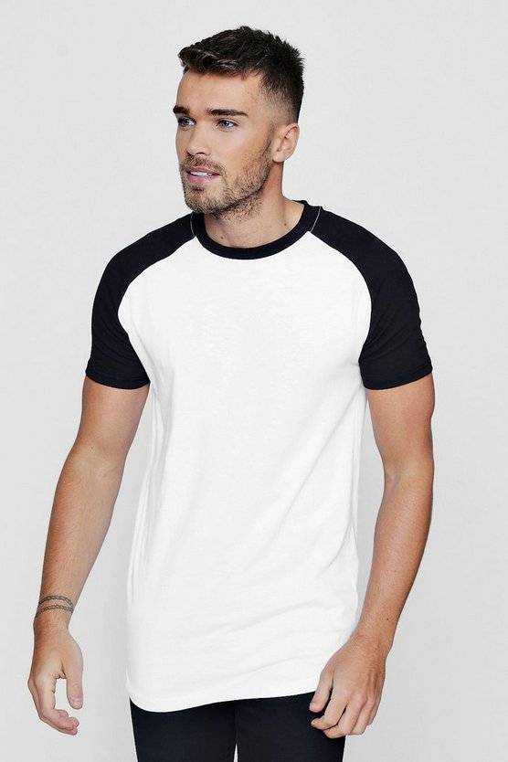 Longline Muscle Fit Raglan T-Shirt With Curve Hem