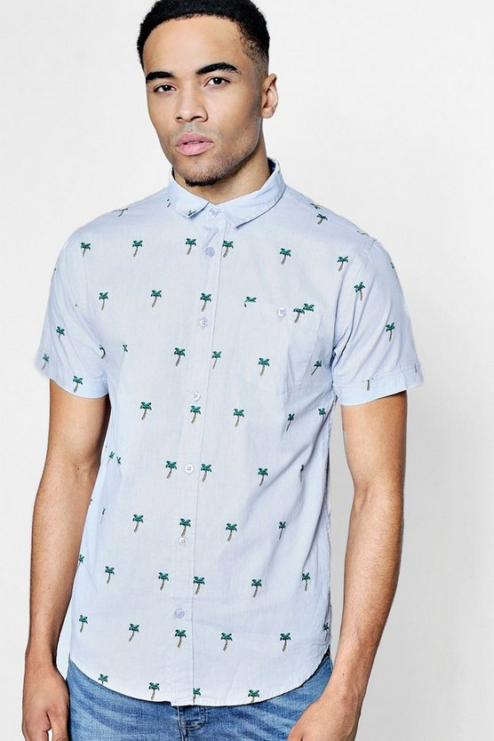 Short Sleeve Palm Tree Print Shirt