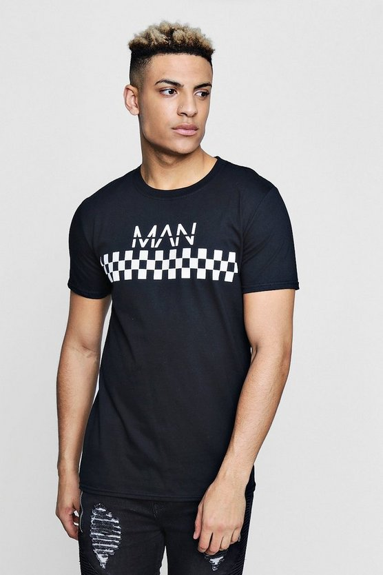 MAN Checkerboard Print T-Shirt