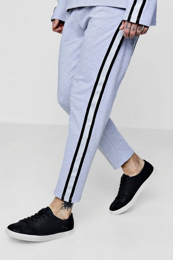 Cropped Sports Stripe Tapered Jogger Co-ord