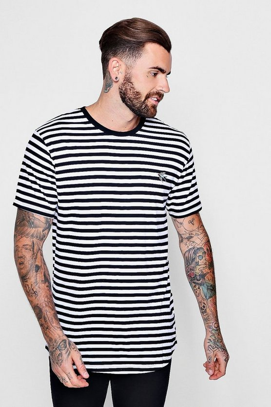 Stripe Curved Hem T-Shirt With Parrot Embroidery