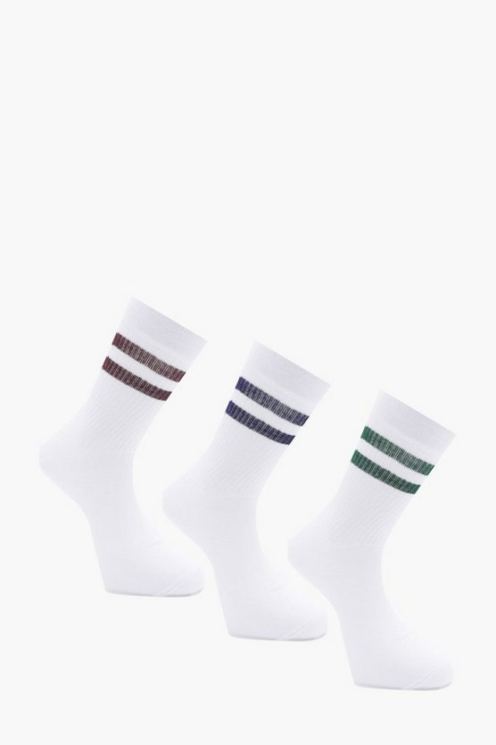 3 Pack Sports Socks With Multi Stripe