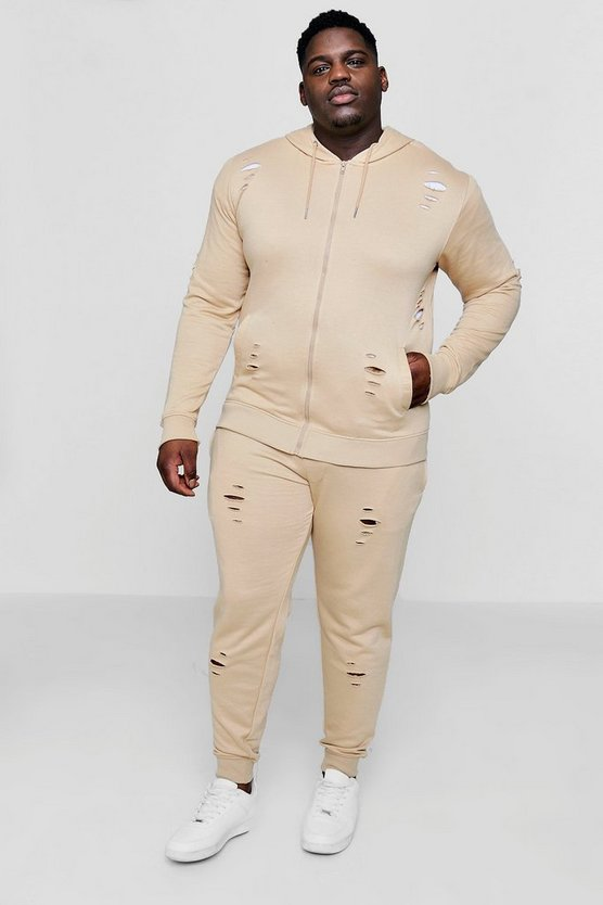 Big And Tall Distressed Skinny Fit Hooded Tracksuit