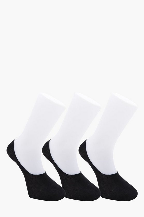 MAN 3 Pack Black Invisible Socks