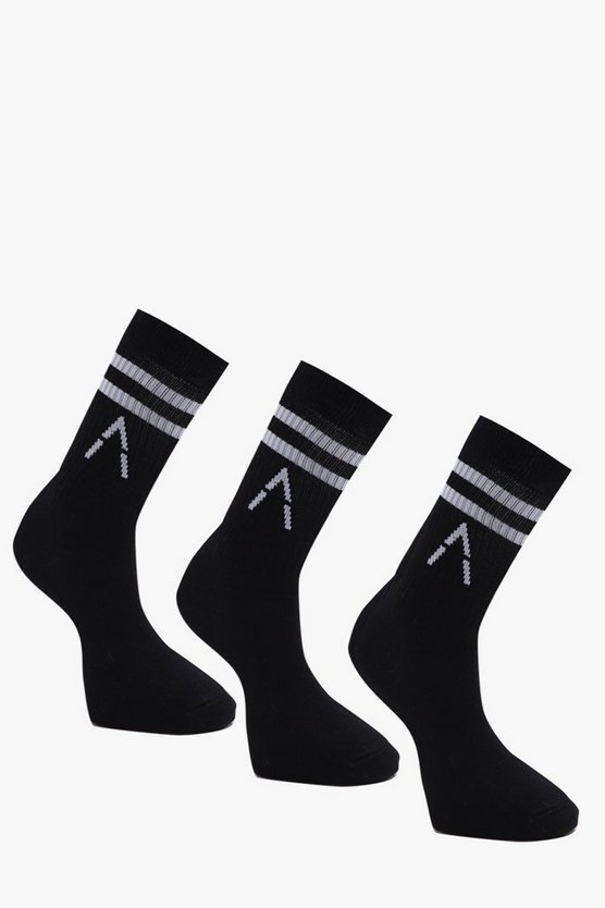 Active 3 Pack Black Sport Socks