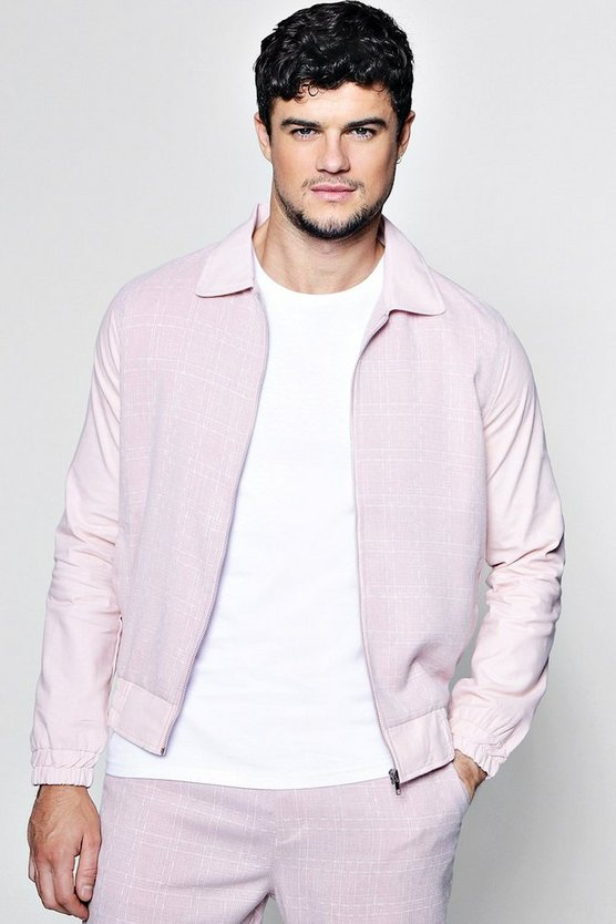 Collared Window Pane Check Tailored Bomber