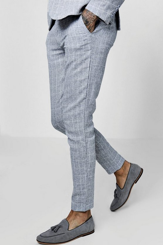 Skinny Fit Window Pane Check Suit Trousers