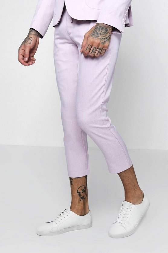 Cropped Slim Fit Tailored Trousers With Drawstring