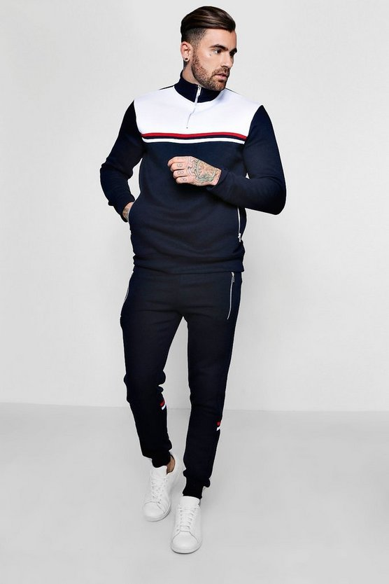 Skinny Colour Block Tracksuit With Funnel Neck