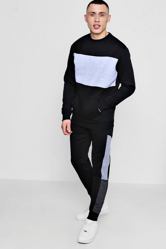 Skinny Colour Block Sweater Tracksuit