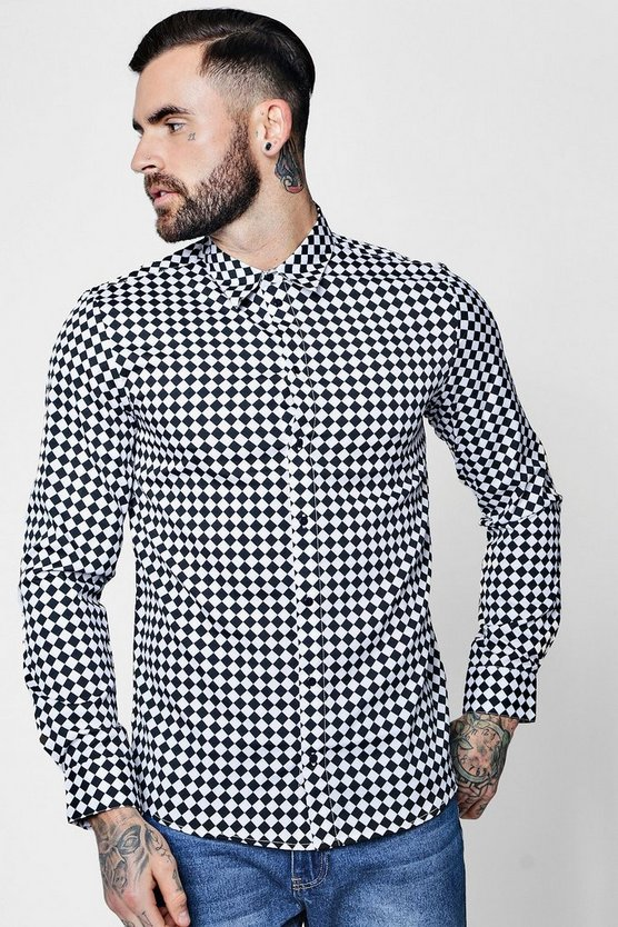 Checkerboard Print Long Sleeve Shirt