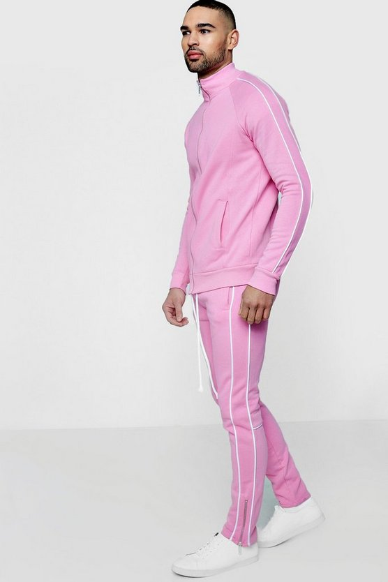 Skinny Fit Piped Tracksuit
