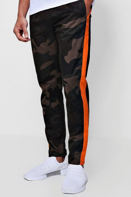 Camo Trousers With Orange Side Panel