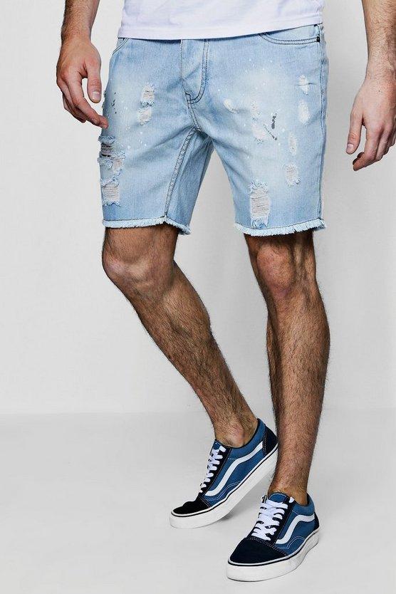 Slim Fit Paint Splatter Denim Shorts by Boohoo