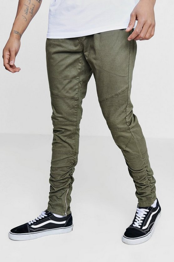 Ruched Side Biker Panel Trousers With Zips