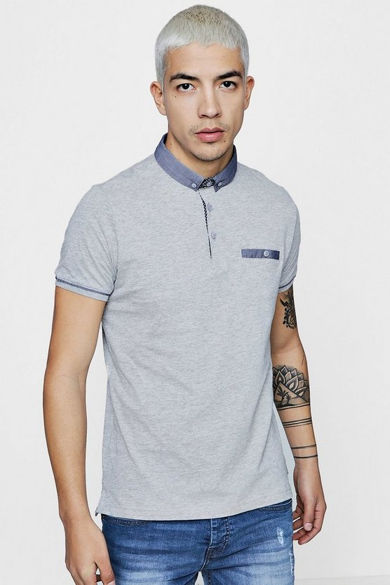 Jersey Polo With Woven Collar