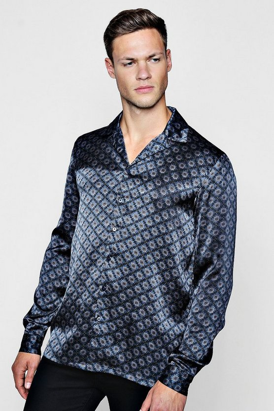 Geo Print Long Sleeve Revere Satin Shirt