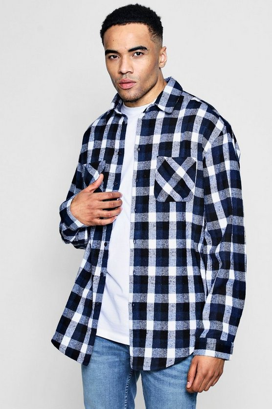 Oversized Drop Shoulder Check Shirt