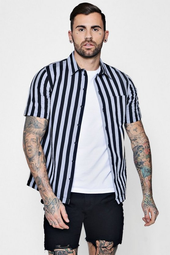 Wide Mono Stripe Short Sleeve Shirt