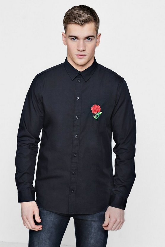Rose Embroidered Long Sleeve Shirt