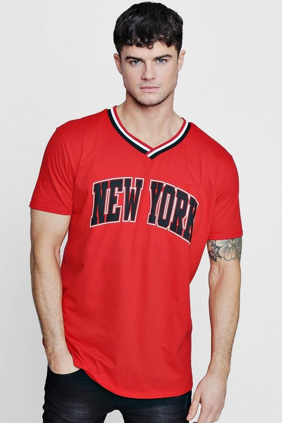 Oversized New York T Shirt With Sports Rib by Boohoo