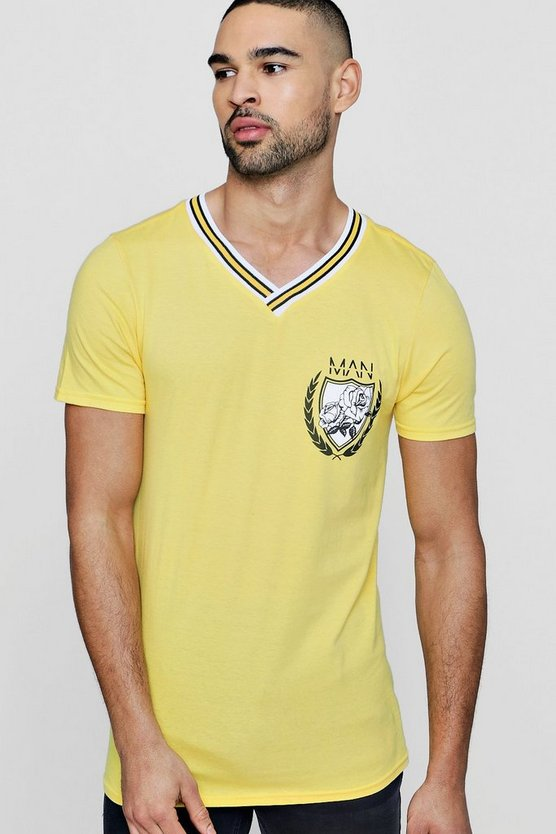 MAN Collegiate T-Shirt With Sports Rib