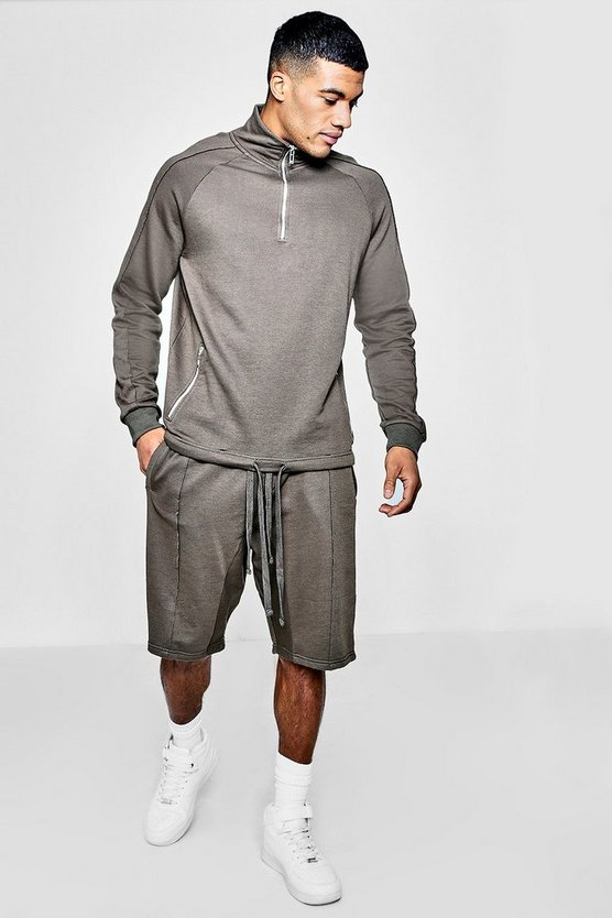 Zip Neck Sweater Short Tracksuit