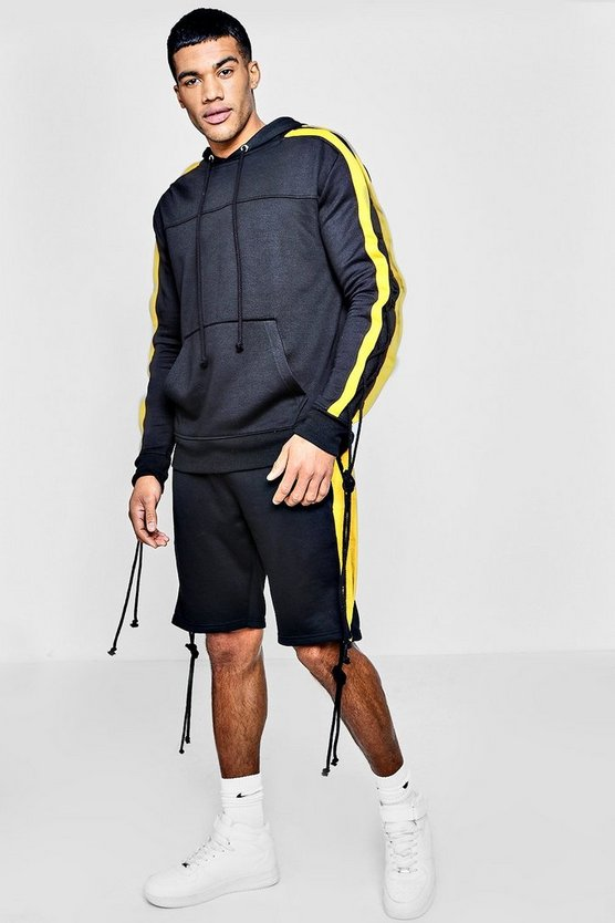 Lace Seam Hooded Short Tracksuit