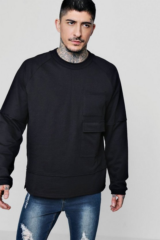 Extreme Oversized Military Pocket Sweater