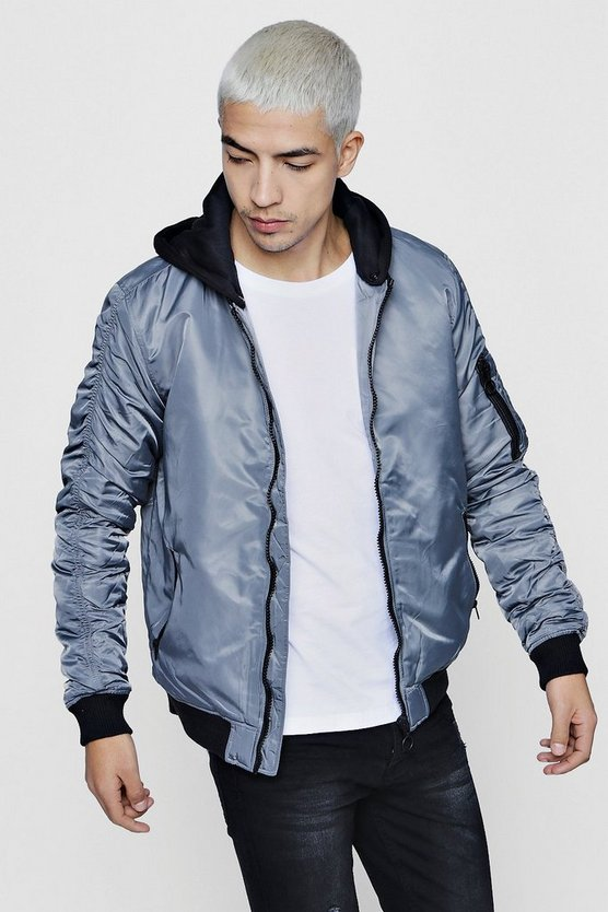 MA1 Bomber With Contrast Jersey Hood