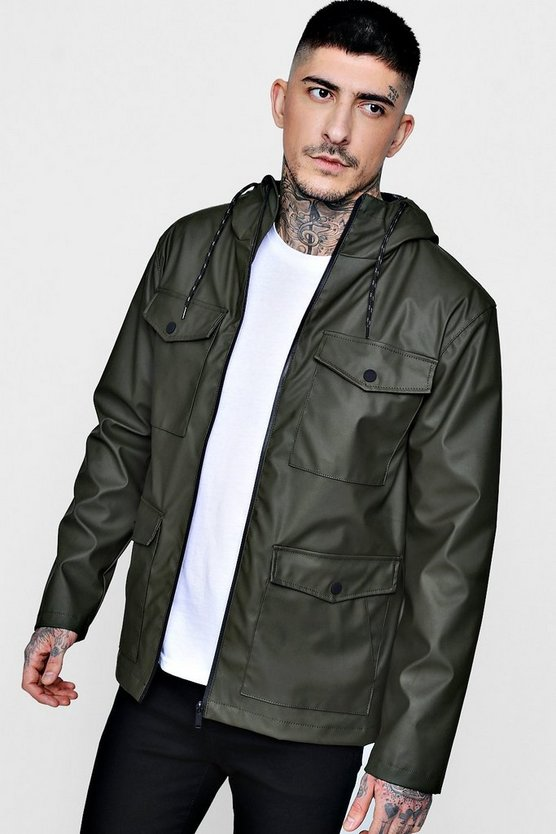 Water Resistant Rubber Hooded Parka