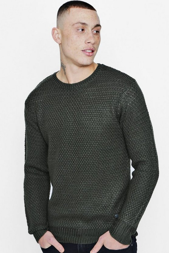 Crew Neck Honeycomb Knit Jumper