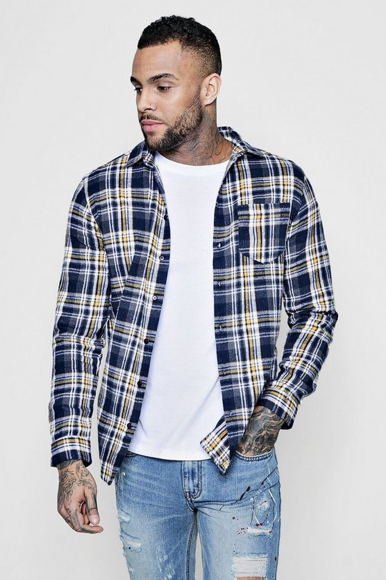 Yellow Multi Check Long Sleeve Shirt
