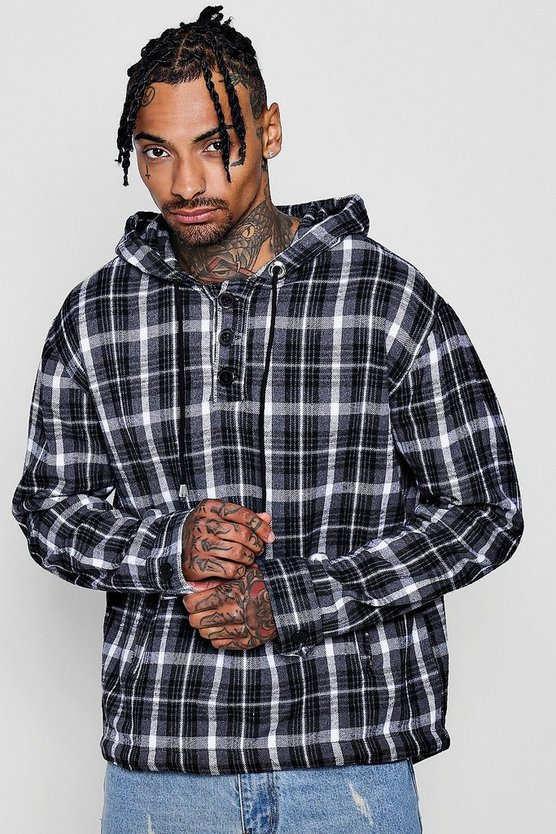 Grey Brushed Check Hooded Shirt