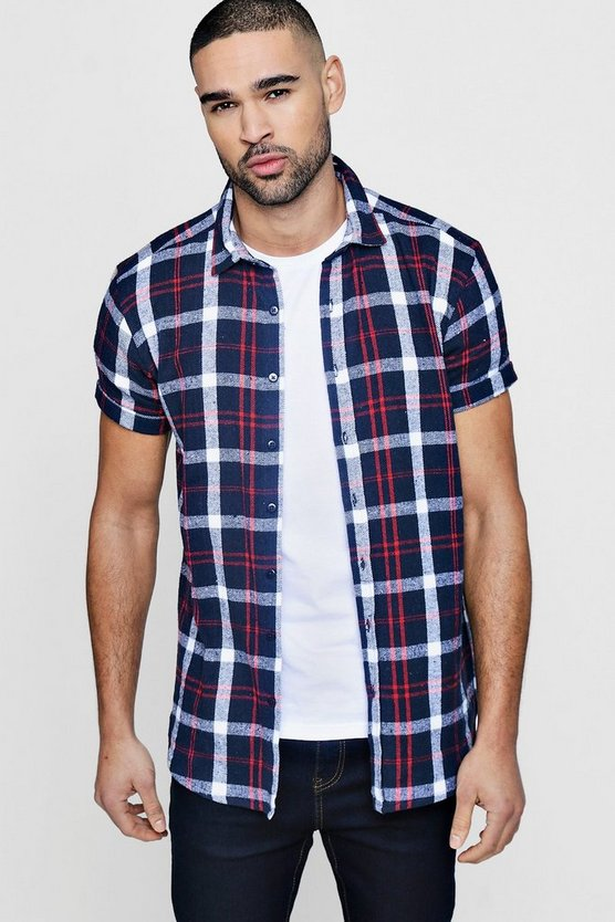 Navy Check Short Sleeve Shirt