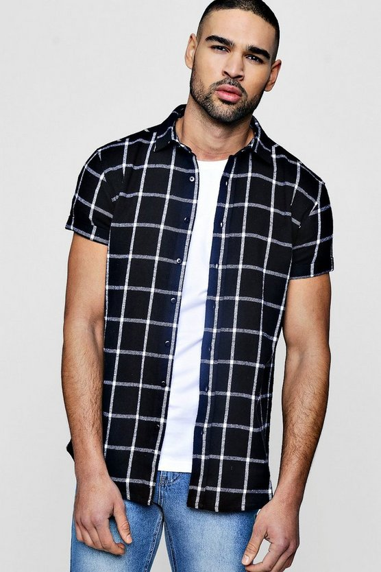 Short Sleeve Window Pane Check Shirt