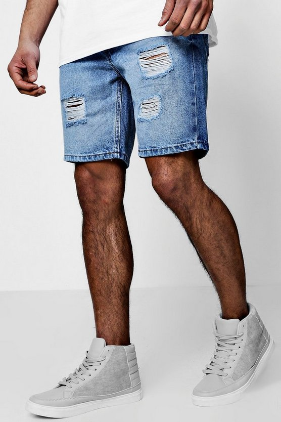 Slim Fit Denim Shorts With Distressing