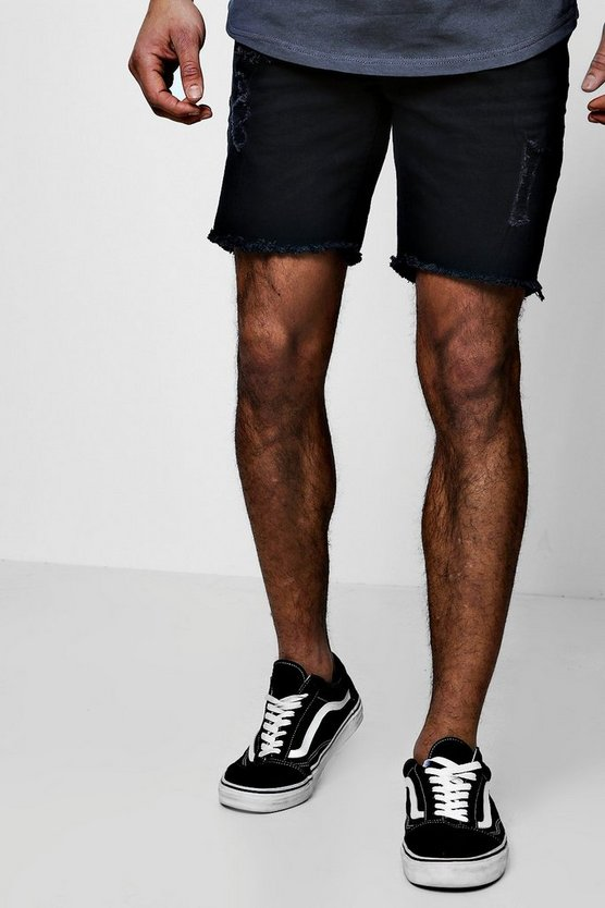 Skinny Fit Denim Shorts With Raw Hem