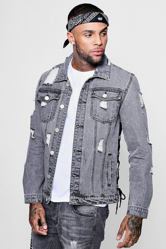 Lace Up Detail Distressed Denim Jacket